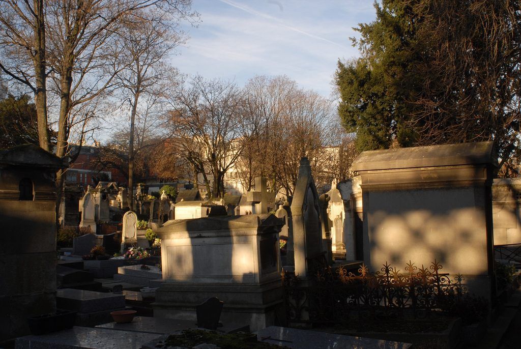 Tombs at Montmartre Cemetery in Paris.