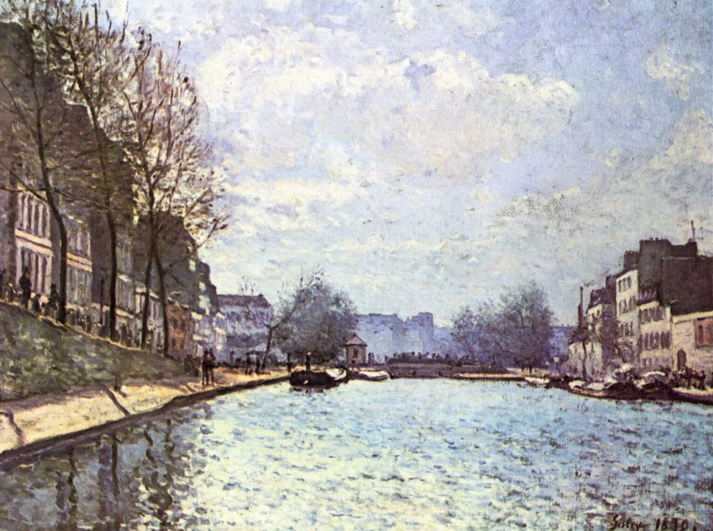 "Alfred Sisley, ""View of the Canal St Martin"", 1870. Public domain."