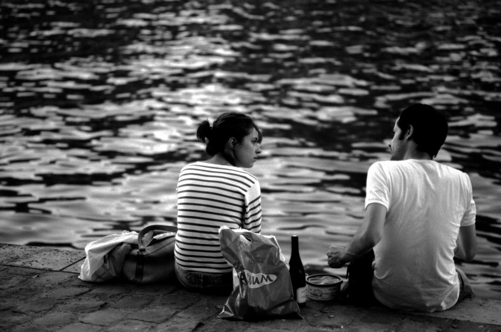 picnic on the seine riverbank in Paris, France