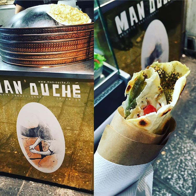 The flatbread pizza is served as a wrap at Man' Ouche.