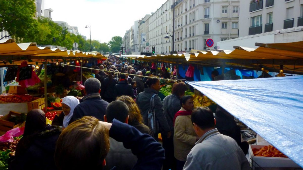 Market on Boulevard de Belleville in Paris