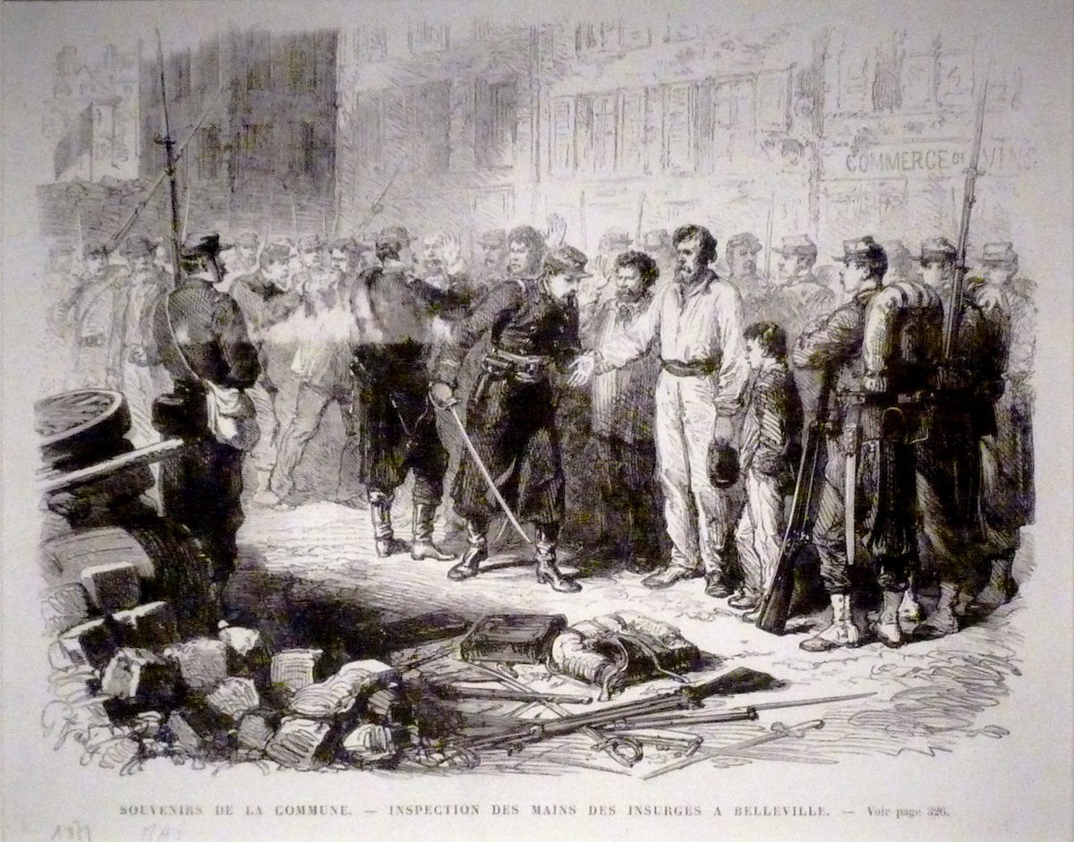 "Soldiers inspect the hands of ""Communard"" revolters for traces of gun powder following the Paris Commune. Wikimedia Commons"