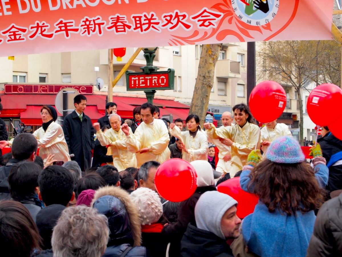 Chinese New Year celebrations near the metro station in Belleville, Paris. Wikimedia Commons