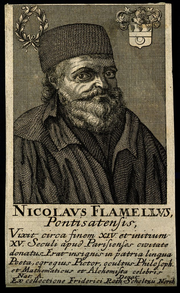 Nicolas Flamel as Philosopher and Alchemist, circa 19th century. Line engraving. Credit: Wellcome Library, London