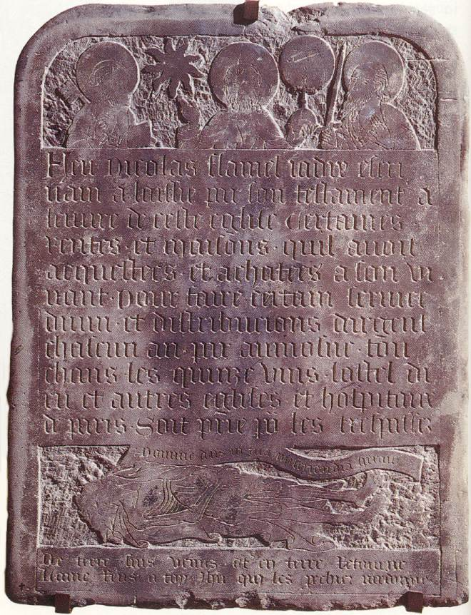Flamel's tombstone at the Musee Cluny, Paris.