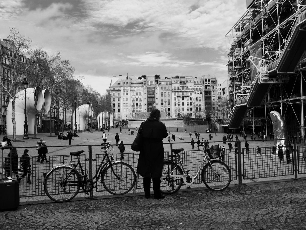Paris in its January guise, outside the Centre Pompidou.