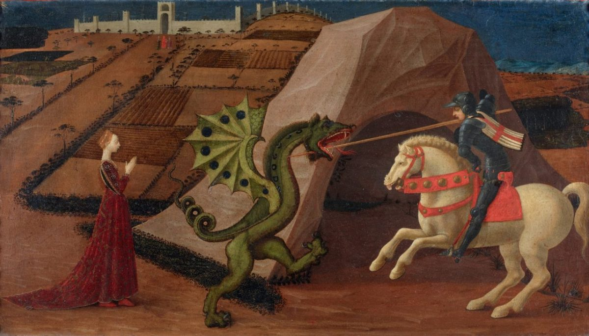 Paolo Uccello, St George and the Dragon, 1430-1435, Musee Jacquemart-Andre (public domain).
