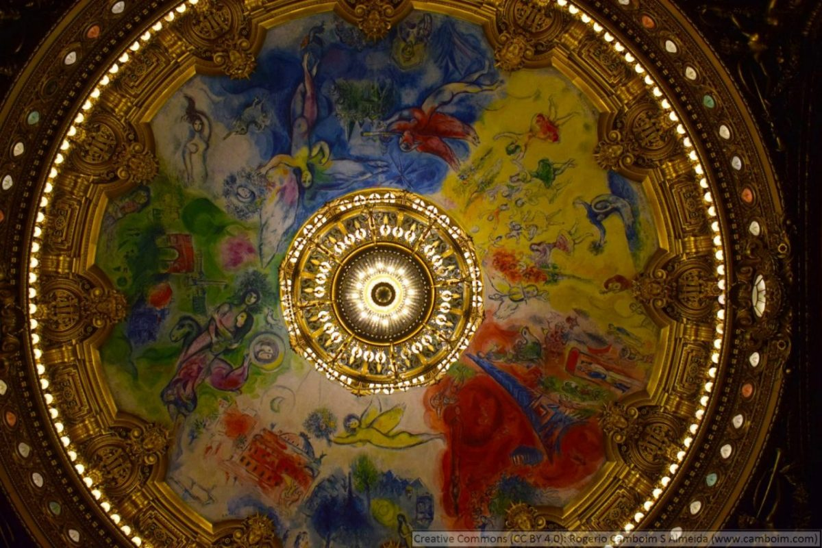 Marc Chagall's sublime ceiling painting graces the main theatre at the Palais Garnier. Rogerio Camboin/Creative Commons license