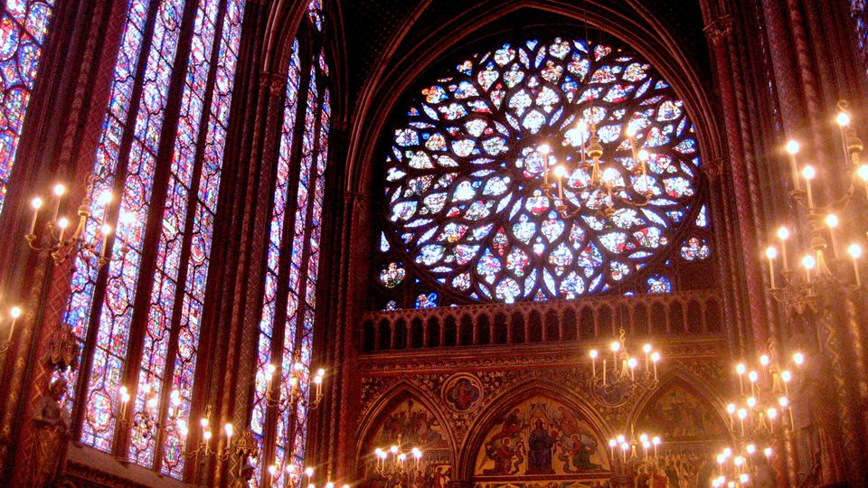 The Sainte-Chapelle in Paris boasts some of Europe's most elaborate and delicate stained glass. Image: Courtney Traub/All rights reserved.