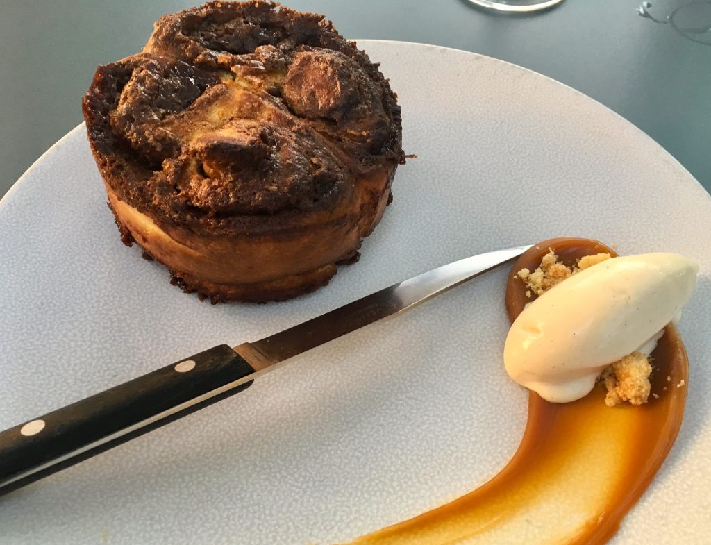 "An individual ""pain perdu"" brioche cake accompanied with salted caramel and ice cream, at Coretta in Paris."