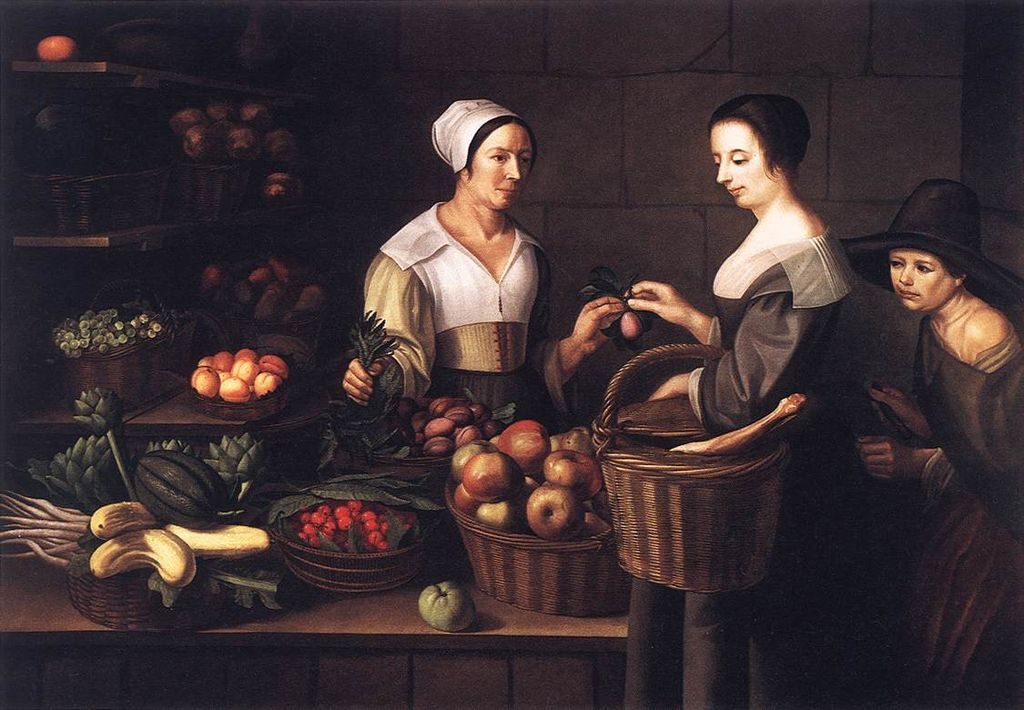 "Louise Moillon, ""Market Scene With a Pick-pocket"". (Oil on canvas, first half of 17th century). Public domain/Wikimedia Commons"