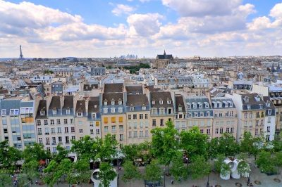 Parisian buildings as seen from the rooftop of the Centre Pompidou-- another essential spot on a first trip.