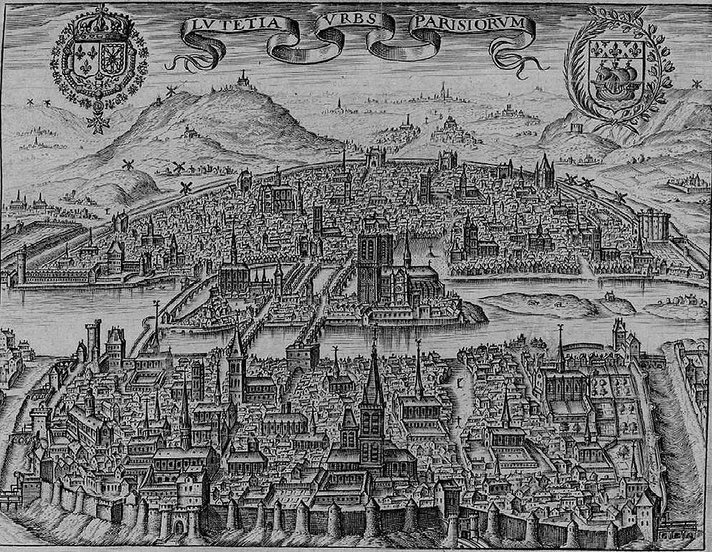 Paris circa 1600, under King Charles V. You can see the fortified wall that surrounded the city of Paris, which was incredibly small.