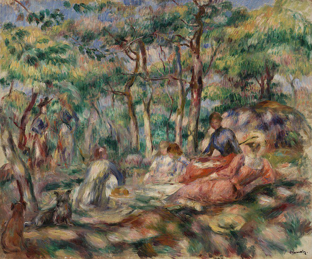 """Pierre-Auguste Renoir, """"Picnic- Le Déjeuner sur l'Herbe"""". Circa 1893. Barnes Foundation."""