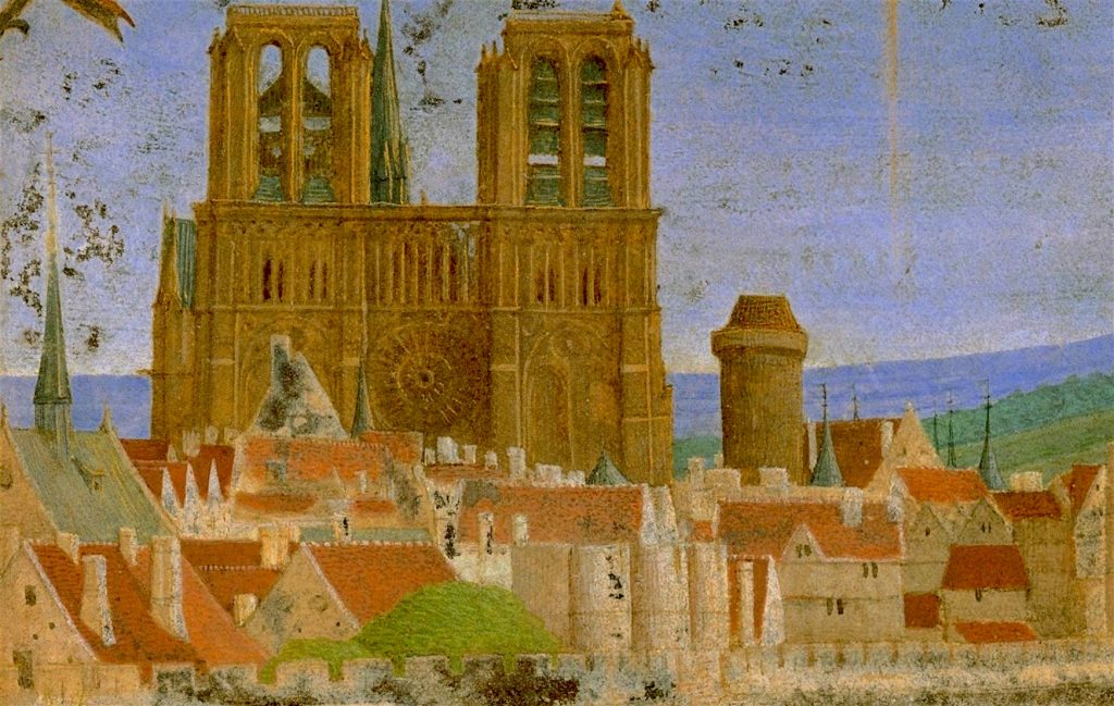 An anonymous medieval image of Paris, showing Notre-Dame Cathedral and the Ile de la Cité.