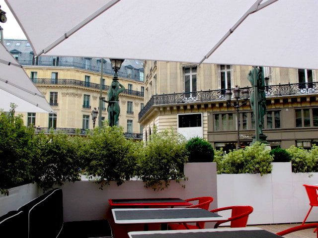 Terrace seating at L'Opera restaurant in Paris. Image: Courtney Traub/All rights reserved