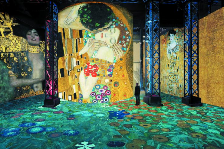 The immersive Klimt and Viennese artists show at the Atelier des Lumieres in Paris, France
