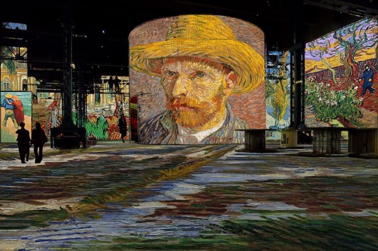 Vincent Van Gogh Starry Night exhibit at the Atelier des Lumières digital art museum in Paris