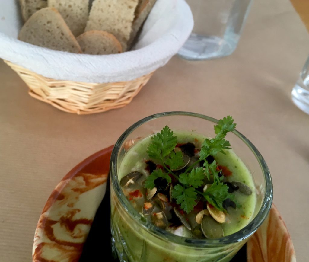 Cucumber and fennel gazpacho at Le Potager de Charlotte. Image: Courtney Traub/All rights reserved