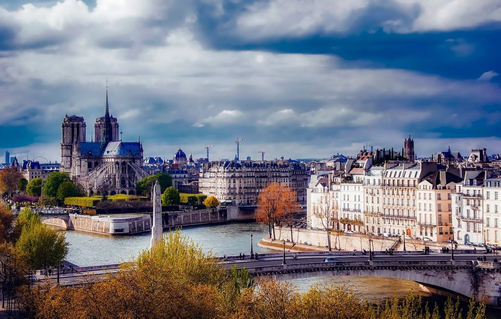 Paris in the fall, view of the River Seine