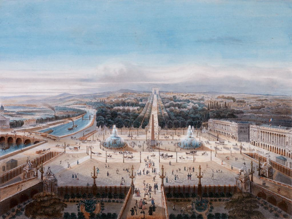"An anonymous 19th-century drawing shows the ""Triumphal Way"" as seen from the Tuileries gardens."