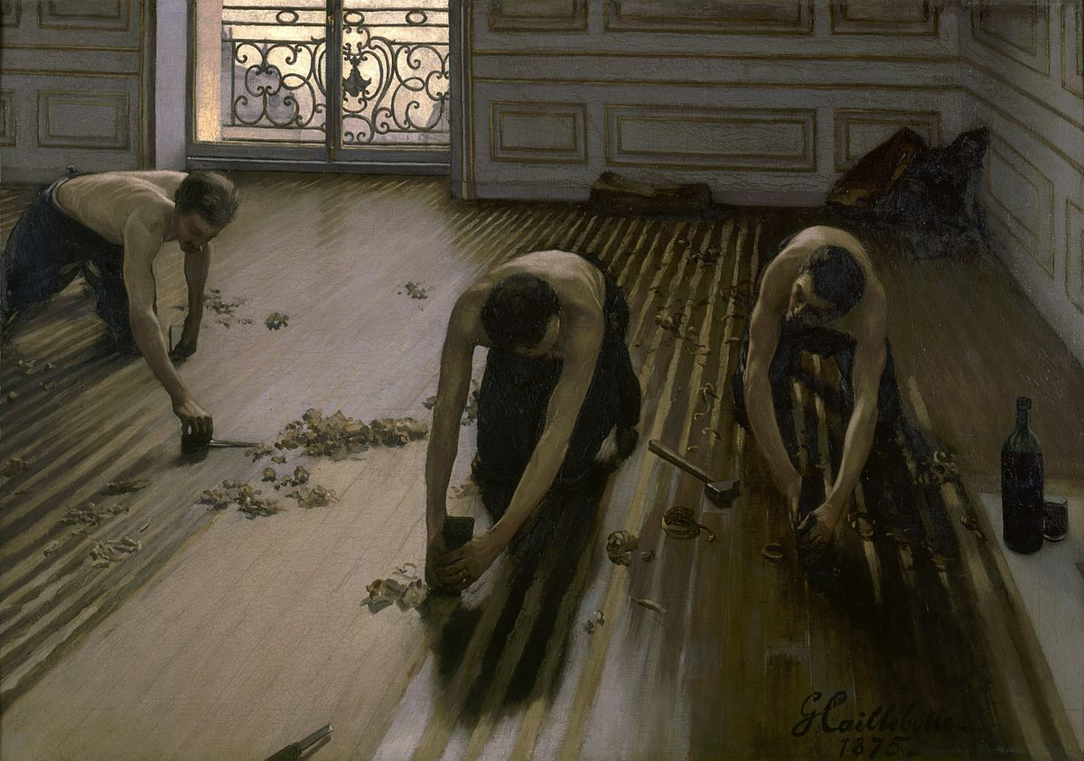 "Gustave Caillebotte, ""The Floor Scrapers"", 1875. Musée d'Orsay, Paris. Public domain."