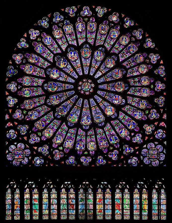 North rose window and panels of stained glass at Notre Dame Cathedral, Paris. By Julie Anne Workman - Own work, CC BY-SA 3.0, https://commons.wikimedia.org/w/index.php?curid=11590000