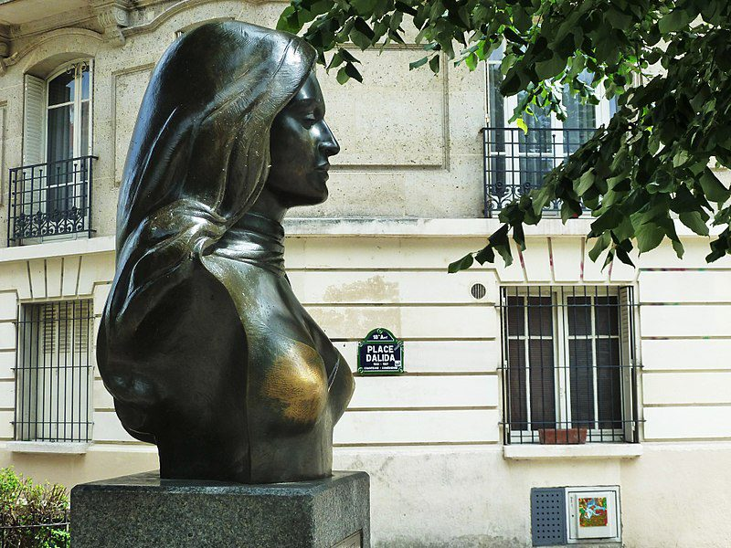 Bronze bust of Franco-Italian-Egyptian singer Dalida, on Place Dalida in Paris