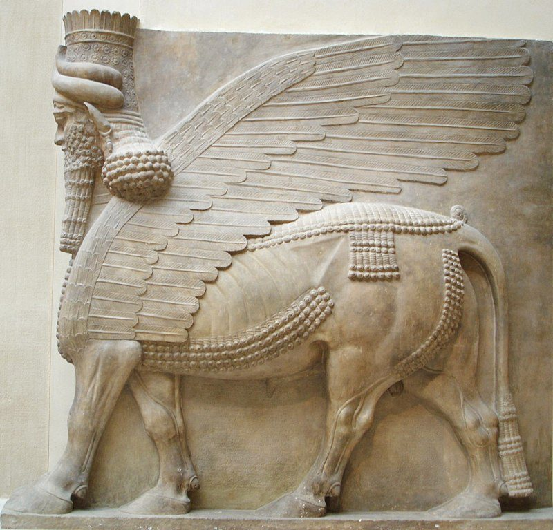 Human-headed winged bull (shedu), Assyria, limestone, 8th century BC, Musée du Louvre