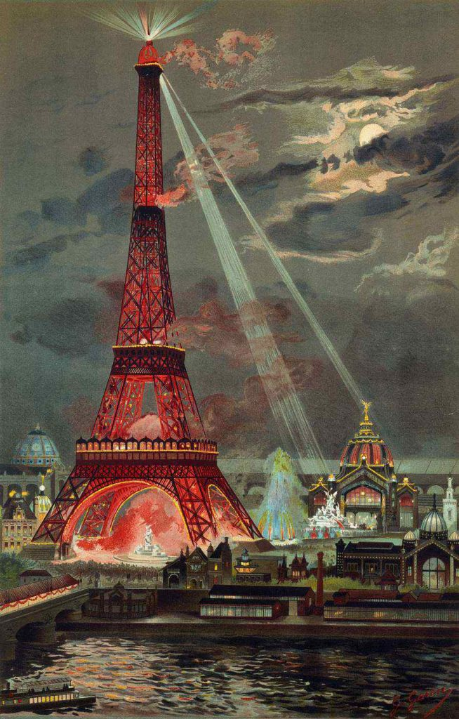 This image from illustrator Georges Garen shows the Eiffel Tower lit for its inauguration during the 1889 Universal Exposition.