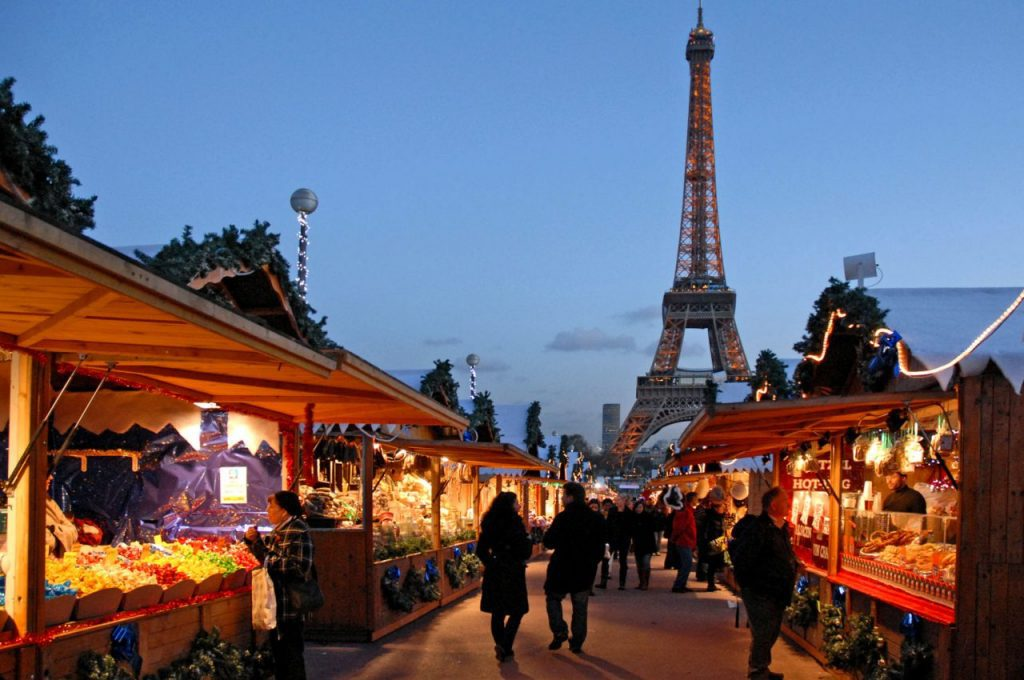 Paris Christmas market, with Eiffel Tower in background, Trocadero
