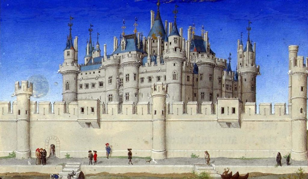 The Louvre and its fortress as depicted in medieval manuscript, Les Très Riches Heures du Duc de Berry ©Photo. R.M.N. / R.-G. Ojéda