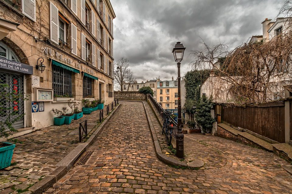 A quieter street around the Sacré Coeur Basilica in Montmartre: a reminder that pockets of calm aren't far away from the crowds.