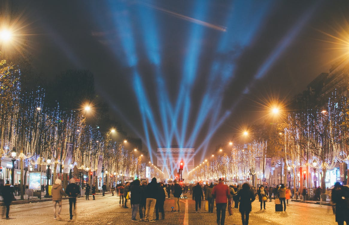 The Avenue des Champs-Elysées in Paris, brilliantly lit for the holiday season. Image: Huy Phan/Pexels