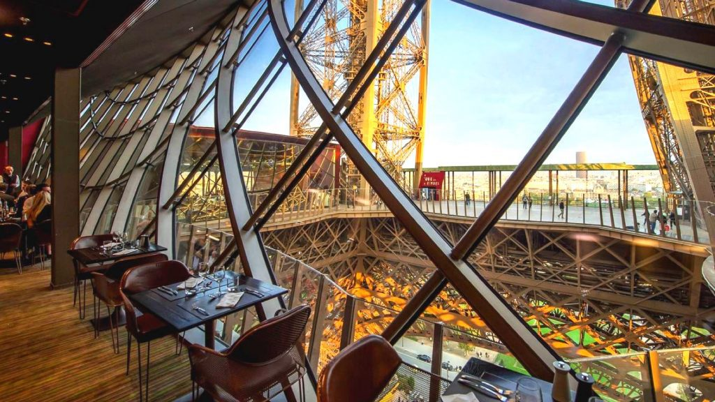 There are two restaurants at the Eiffel Tower, as well as shops and a champagne bar.
