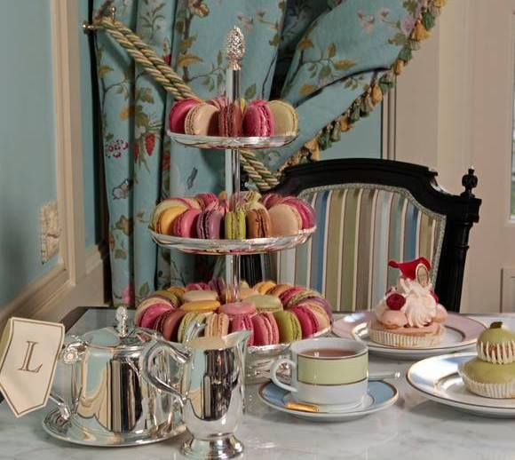 Tea and macarons at French tearoom Ladurée.