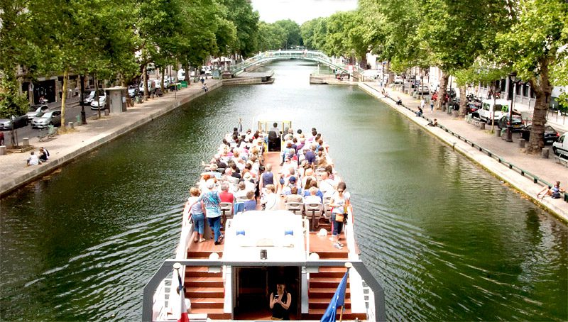 Canauxrama cruise on the Canal St Martin in Paris