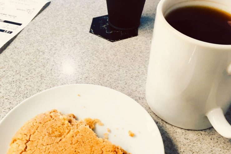 Tea and cookie from craft cafe