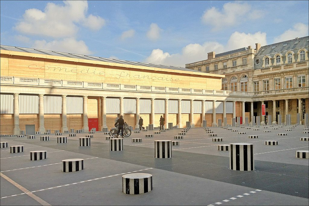 The south courtyard at the Palais Royal and rear of the Comedie Francaise, with Daniel Buren's quirky striped columns. Jean-Paul Dalbera/Creative Commons 2.0 license.