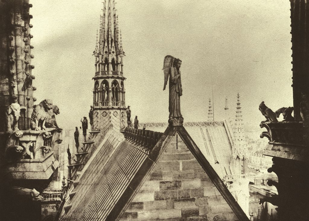 An 1856 photo from Charles Manville shows the architect Viollet-le-Duc's gothic spire, added to Notre Dame along with gargoyles and other features.