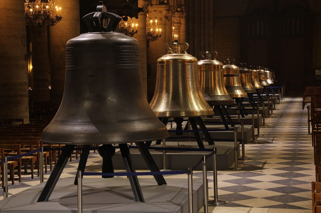 Nine new bells were fashioned for and fitted at Notre Dame de Paris in 2013. Wikimedia Commons