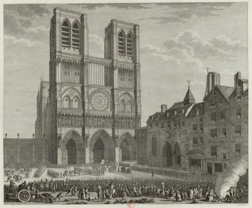 "Notre-Dame as shown in 1790 during the French Revolution. The Cathedral was turned into a ""Temple of Reason"" and stripped of its religious functions for a time. (Estampe de J.-L. Prieur, 1802, BnF, Estampes et photographie)"
