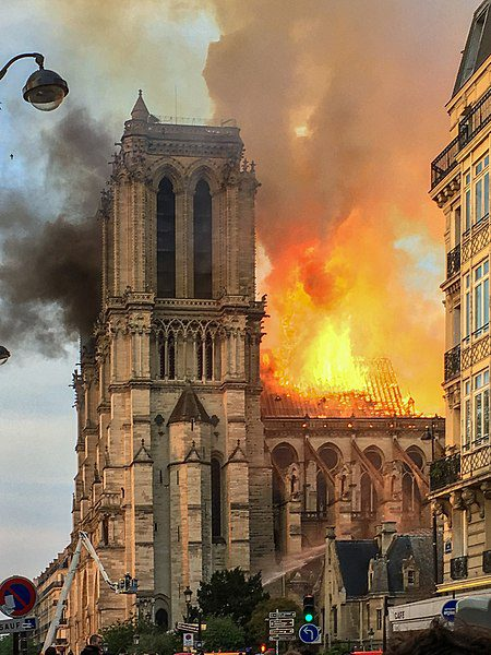 Notre-Dame de Paris on fire, April 15th, 2019. Image: LeLaisserPasserA38/Creative Commons 4.0