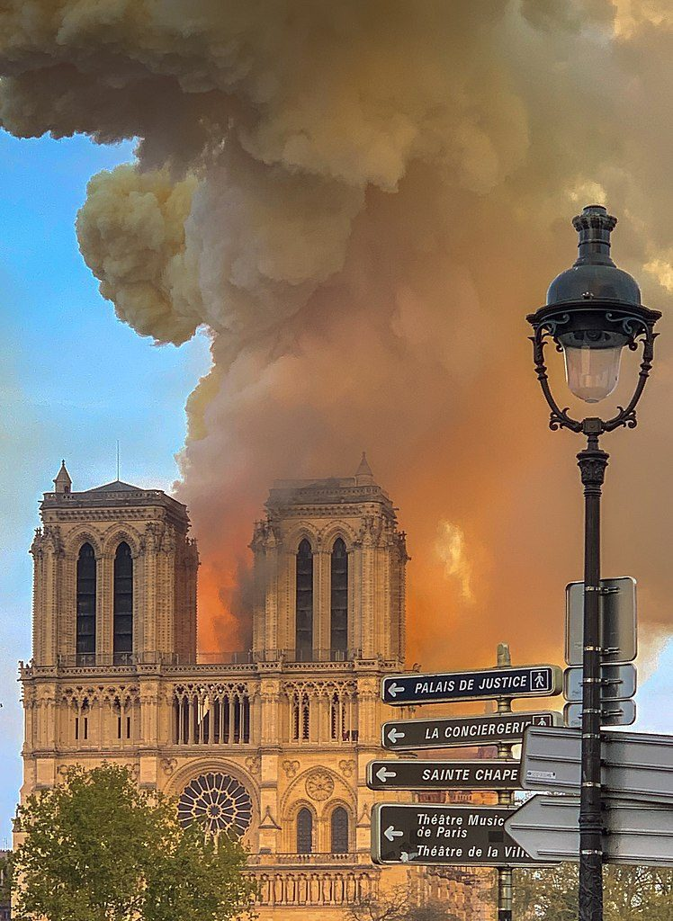 Notre Dame Cathedral on fire, April 15th, 2019. Image: Milliped/Creative Commons 4.0 license