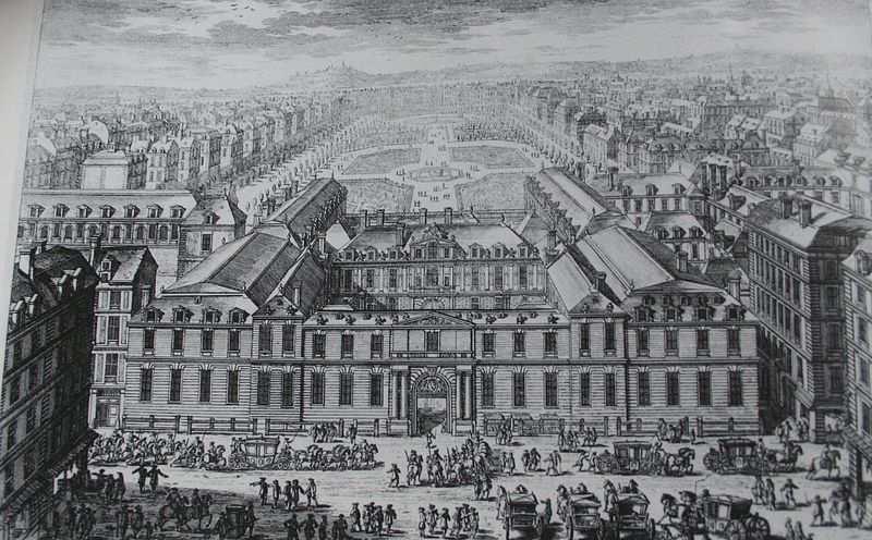 An illustration shows the Palais Royal as seen from the Molière Theatre, around 1679. Wikimedia Commons