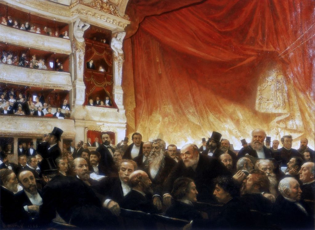 "Edouard Dantan, ""Between Acts at the Comédie Francaise on opening night"", 1885. Public domain."