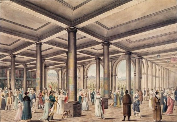 A drawing of the galleries at the Palais Royal, circa 1800. Wikimedia Commons