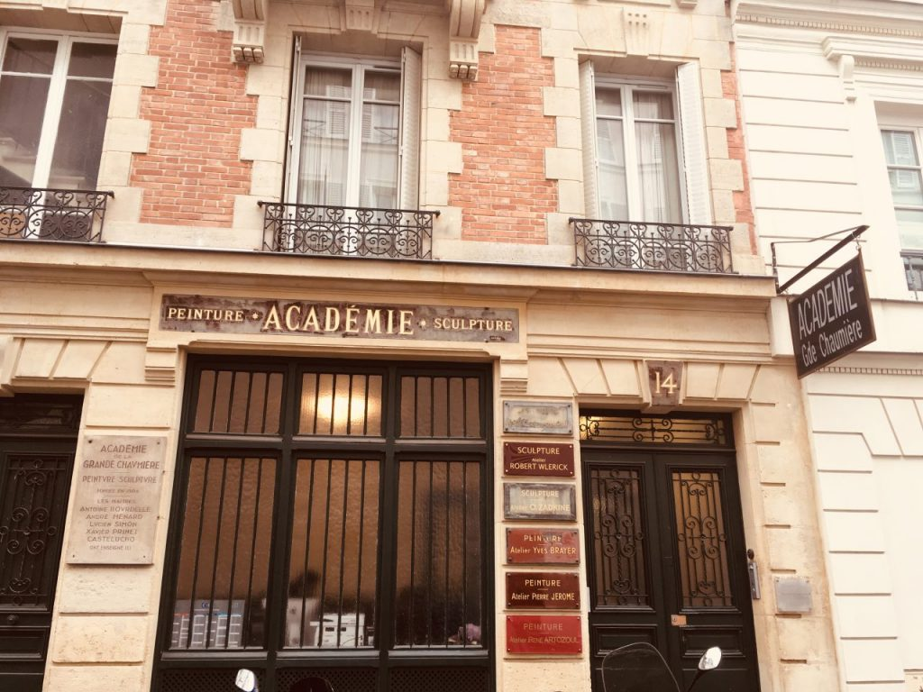 The facade of the Academy on the Rue de la Grande Chaumière in Paris, Montparnasse. Image credit: Courtney Traub/All rights reserved