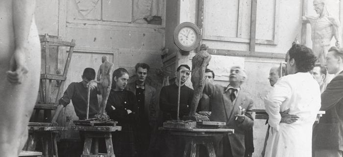 Russian-born Montparnasse sculptor Ossip Zadkine and his students at the Academie, around 1946.