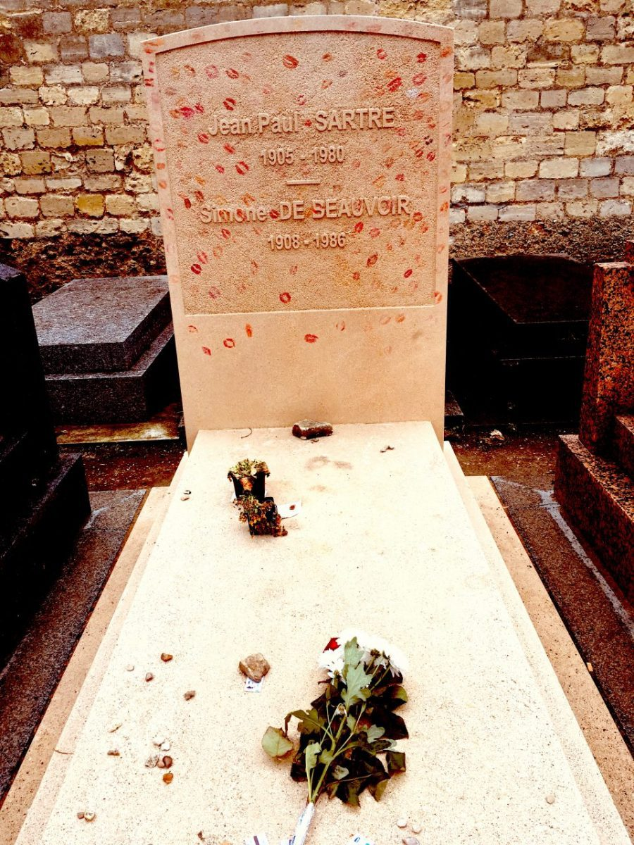 The shared tomb of Simone de Beauvoir and Jean-Paul Sartre at Montparnasse Cemetery, Paris. Courtney Traub/All rights reserved